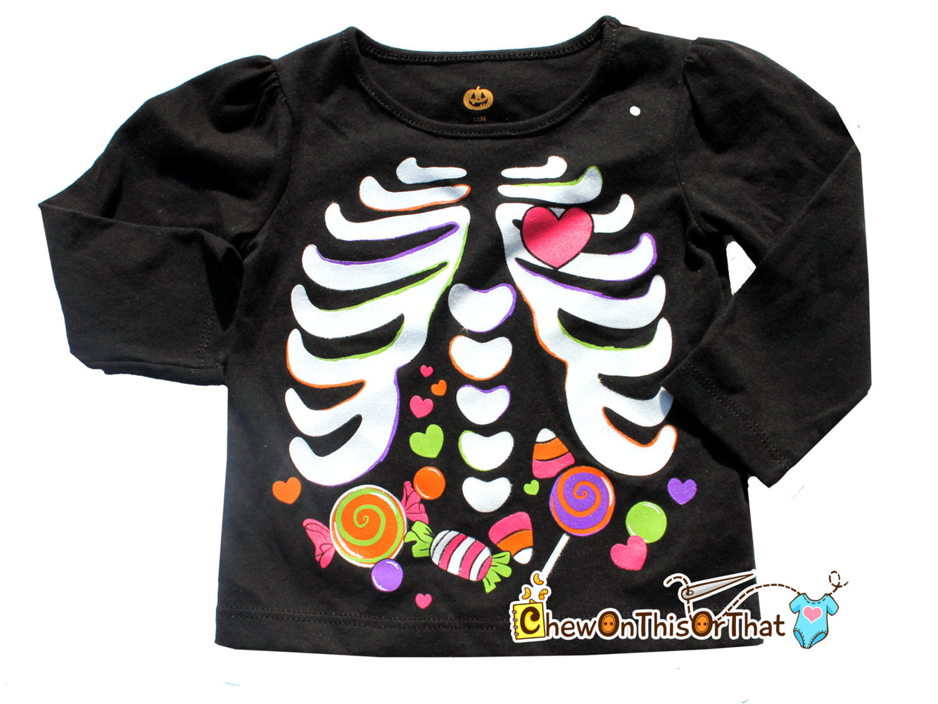 Black Halloween Skeleton Toddler Top with Candy in the Belly - Girls Costume Shirt - Chew On This Or That