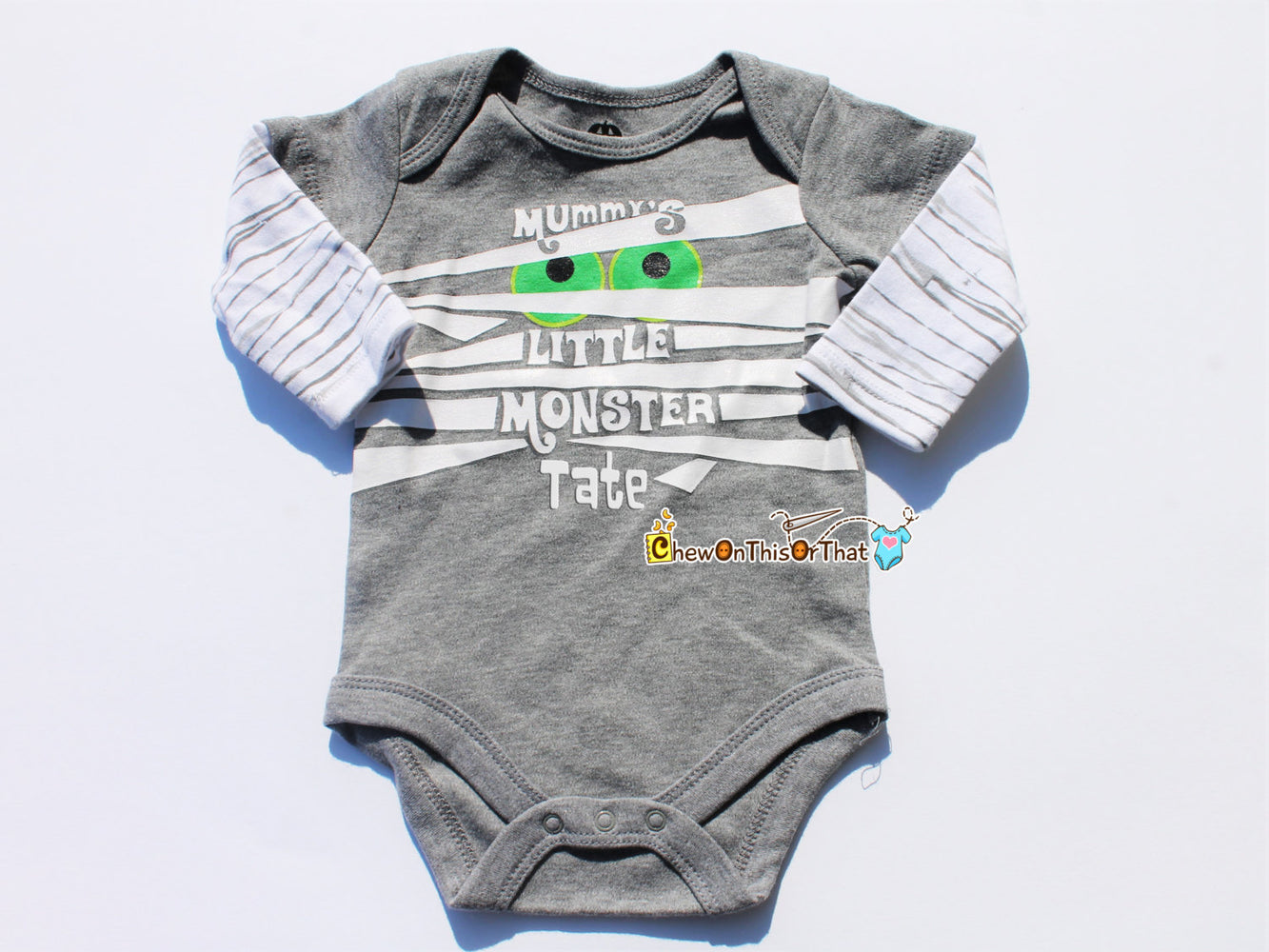Mummy's Little Monster - First Halloween Statement Onesie, Personalized with Baby's Bodysuit, Shirt, Top, Costume - Chew On This Or That
