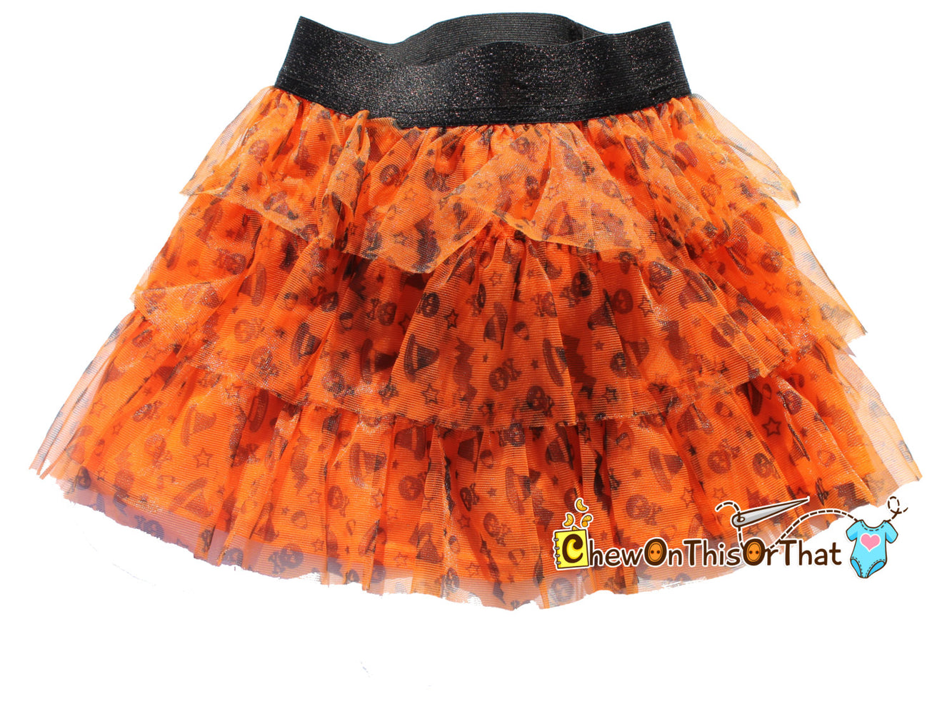 Orange Halloween Tutu Skirt with Black Elastic Band and Satin Lining - Toddler Flared Ruffled Skirt - Chew On This Or That