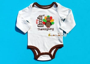 Baby's First Thanksgiving Embroidered Turkey Onesie, Bodysuit, Top, Shirt - Chew On This Or That