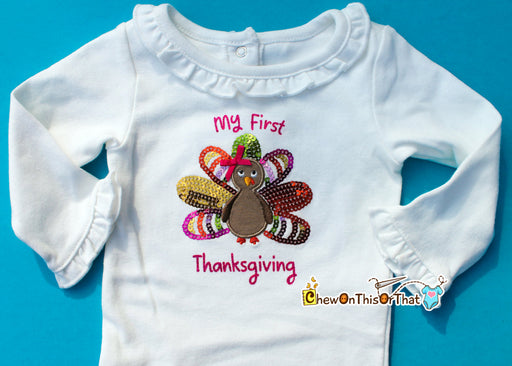 Baby Girl First Thanksgiving Sequenced Turkey Onesie with Ruffled Collar and Sleeves, Bodysuit, Top, Shirt - Chew On This Or That