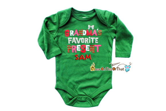 Grandma Favorite Present Christmas Statement Onesie for Baby First Christmas, Personalized Green Long Sleeve Bodysuit, Top, Shirt Photo Prop - Chew On This Or That