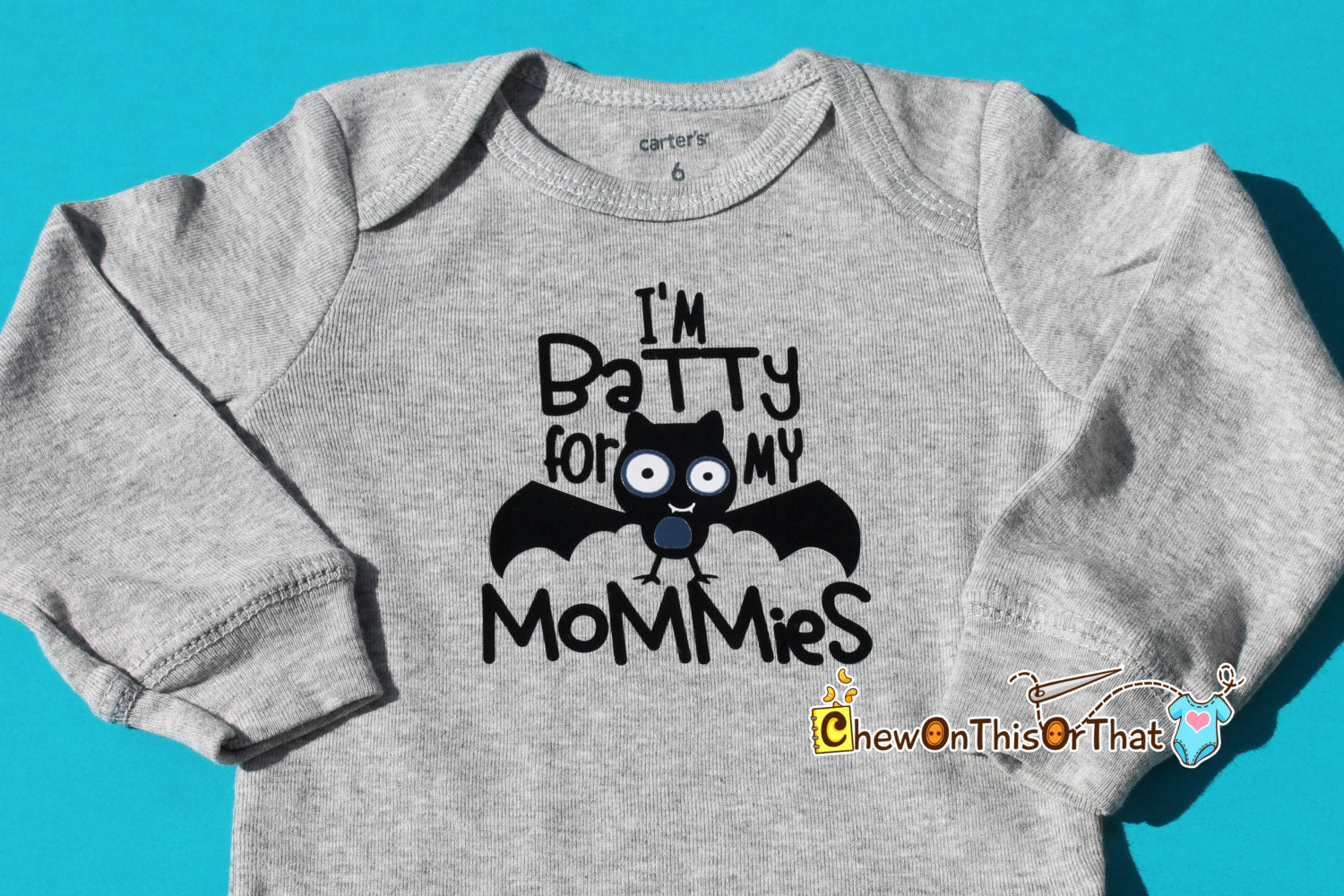 35dd61b0 ... Batty For My Mommies Baby's First Halloween Long Sleeve Gray Onesie,  Bodysuit, Top,