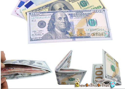 100 Dollar Bill Money Wallet for Males, Men, Teens, Kids -Ben Franklin Billfold, New Year Gift, Birthdays Stocking Stuffers, Small Thin - Chew On This Or That