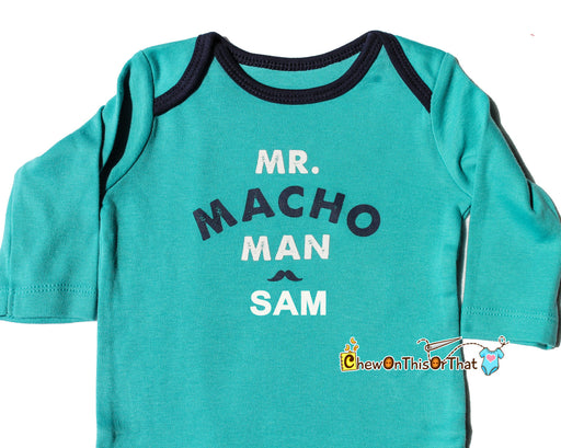 Mr Macho Man Personalized Turquoise Blue Long Sleeve Onesie, Baby Boy Statement Shirt, Bodysuit, Top, Mister Man, Baby Shower, New Mom Gift - Chew On This Or That