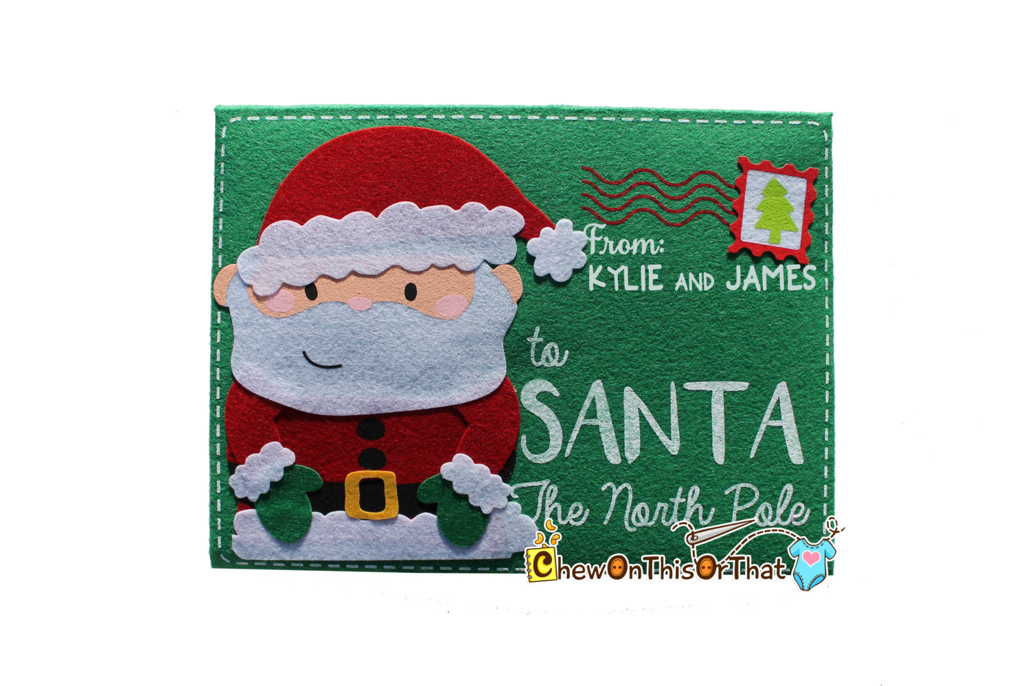 Personalized Extra Large Green Letter To Santa Envelope - Chew On This Or That