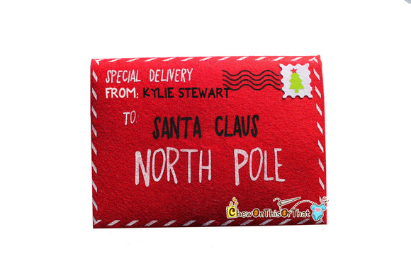 Personalized Extra Large Red Letter To Santa Envelope, Dear Santa Letter, Thank You Gift Note, Night Before Christmas, Special Delivery - Chew On This Or That