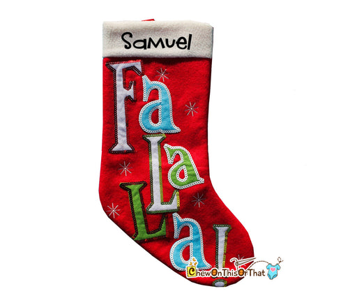 Personalized Red Fa La La Sequence Christmas Stocking for Family, Males, Teens, Girls, Boys, Kids, Children Embroidery, Applique, Snowflakes - Chew On This Or That