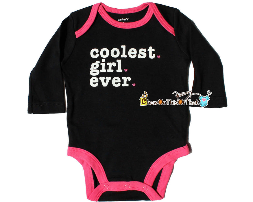 Coolest Girl Ever Personalized Black and Pink Statement Onesie, Baby Girl Bodysuits, Newborn Top, Personalized Shirt, Baby Shower Gift - Chew On This Or That