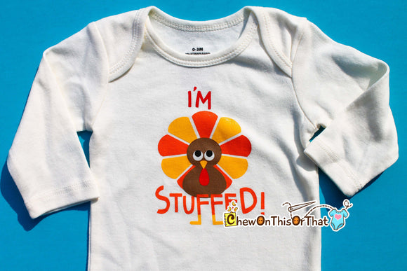 I'm Stuffed Personalised First Thanksgiving Statement Onesie, Bodysuit, Top, Outfit, Shirt - Chew On This Or That