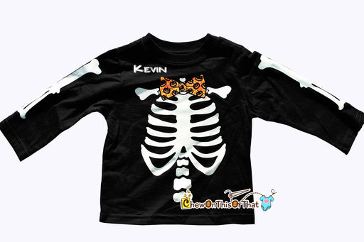 Black Halloween Skeleton Toddler Top with Orange Jack O'Lantern Bow Tie, Skeletal Long Sleeve Costume Tee Shirt, He-Man, He Man, Skeletor - Chew On This Or That