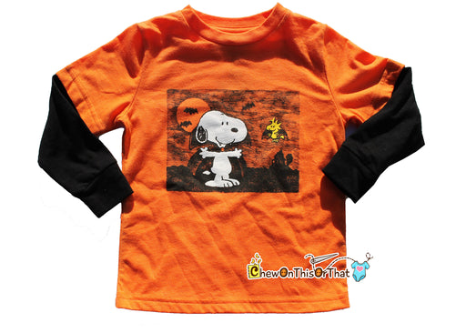 Peanuts Vampire Snoopy and Woodstock Long Sleeve Orange Black Halloween Toddler Top, It's the Great Pumpkin, Charlie Brown Charles M. Schulz - Chew On This Or That