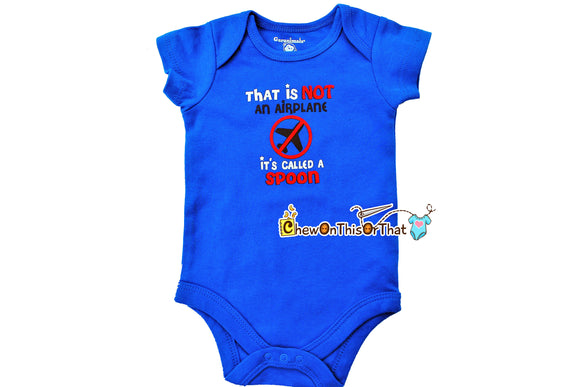 That's Not An Airplane It's Called A Spoon Short Sleeve Blue Feeding Time Statement Bodysuit, Infant Baby Boy Onesie Shirt, New Mom Gift