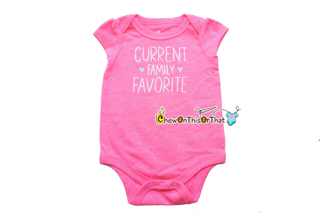 Current Family Favorite Short Sleeve Pink Statement Onesie Shirt for Infant Baby Girls, New Moms and Dads, Baby Shower Gift - Chew On This Or That