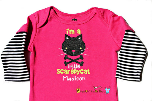 I'm a Little Scaredy Cat - Baby First Halloween Personalized Statement Onesie, Bodysuit, Top, Outfit, Shirt - Chew On This Or That