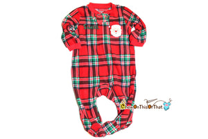 Plaid Red Fleece Santa Sleeper Pajama for Baby's First Christmas, Fleece Blanket Sleepwear with feet, PJs, Matching Family Pajamas, Footsie - Chew On This Or That