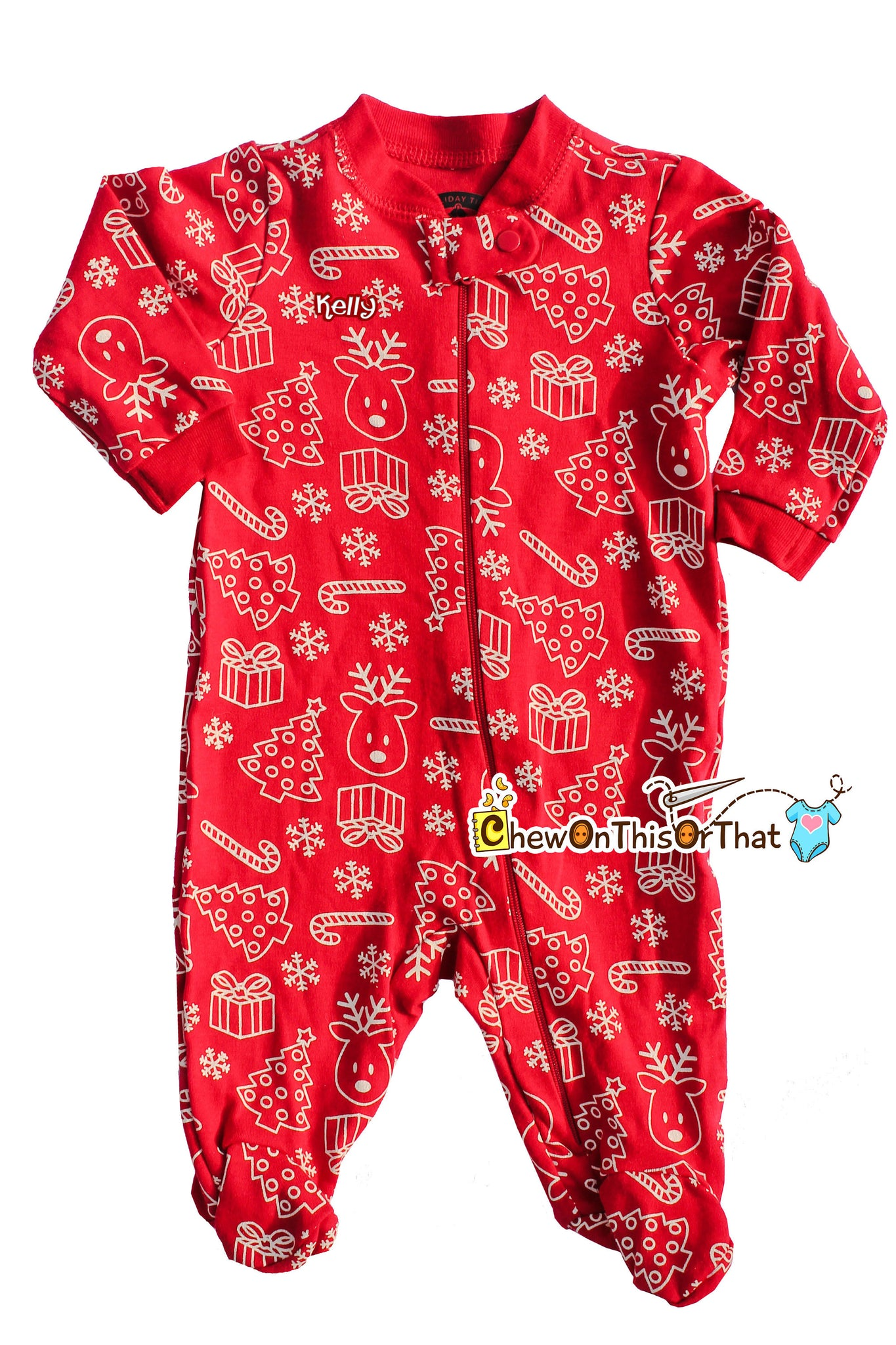 5ac1adfce Red Christmas Print Sleeper Pajama Baby s First Christmas