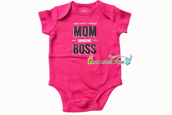 Hot Pink Mom's the Boss Short Sleeve Baby Girl Statement Onesie - Push Present for New Mothers, Baby Shower Gift, Bodysuit, Shirt, Top