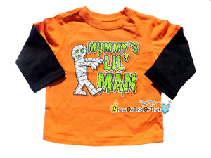Mummy's Little Man Long Sleeve Orange and Black Halloween Toddler Top, T-shirt, Tee - Chew On This Or That