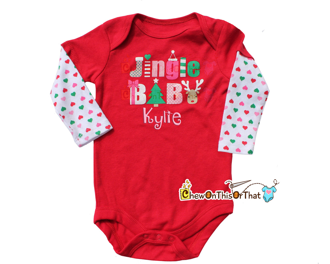 Jingle Baby Red and White Christmas Onesie Personalized with Baby's Name for Baby First Christmas, Long Sleeve Bodysuit, Top, Shirt - Chew On This Or That