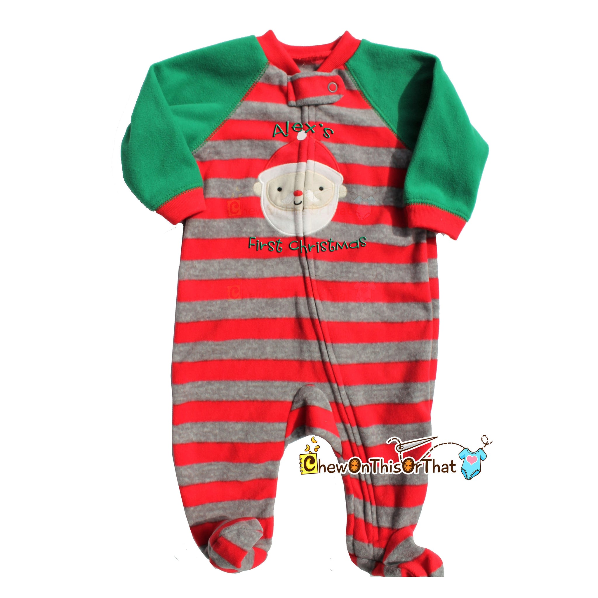 striped green red gray santa pajama personalized baby first christmas blanket fleece pajamas with