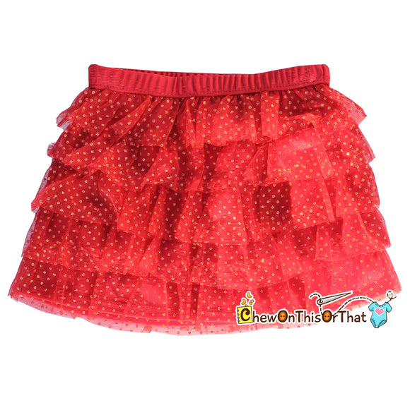 Red and Gold Ruffled Layered Christmas Tutu Skirt for Babies, Toddlers and Little Girls, Flared Ruffle with Satin Under Skirt Slip Lining