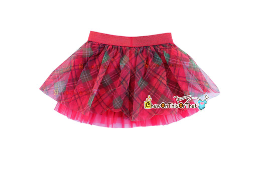 Red Plaid Ruffled Christmas Tutu Skirt for Babies, Toddlers and Little Girls, Flared Ruffle with Satin Under Skirt Slip Lining - Chew On This Or That