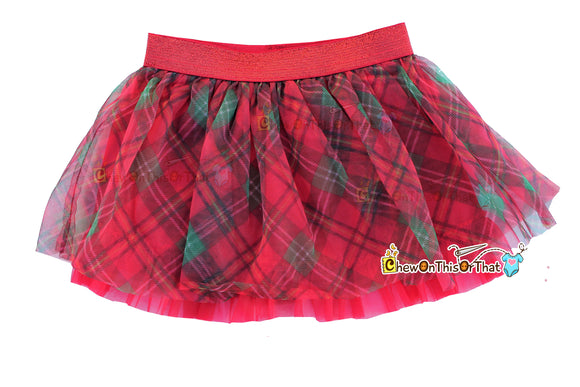 Red Plaid Ruffled Christmas Tutu Skirt for Babies, Toddlers and Little Girls, Flared Ruffle with Satin Under Skirt Slip Lining