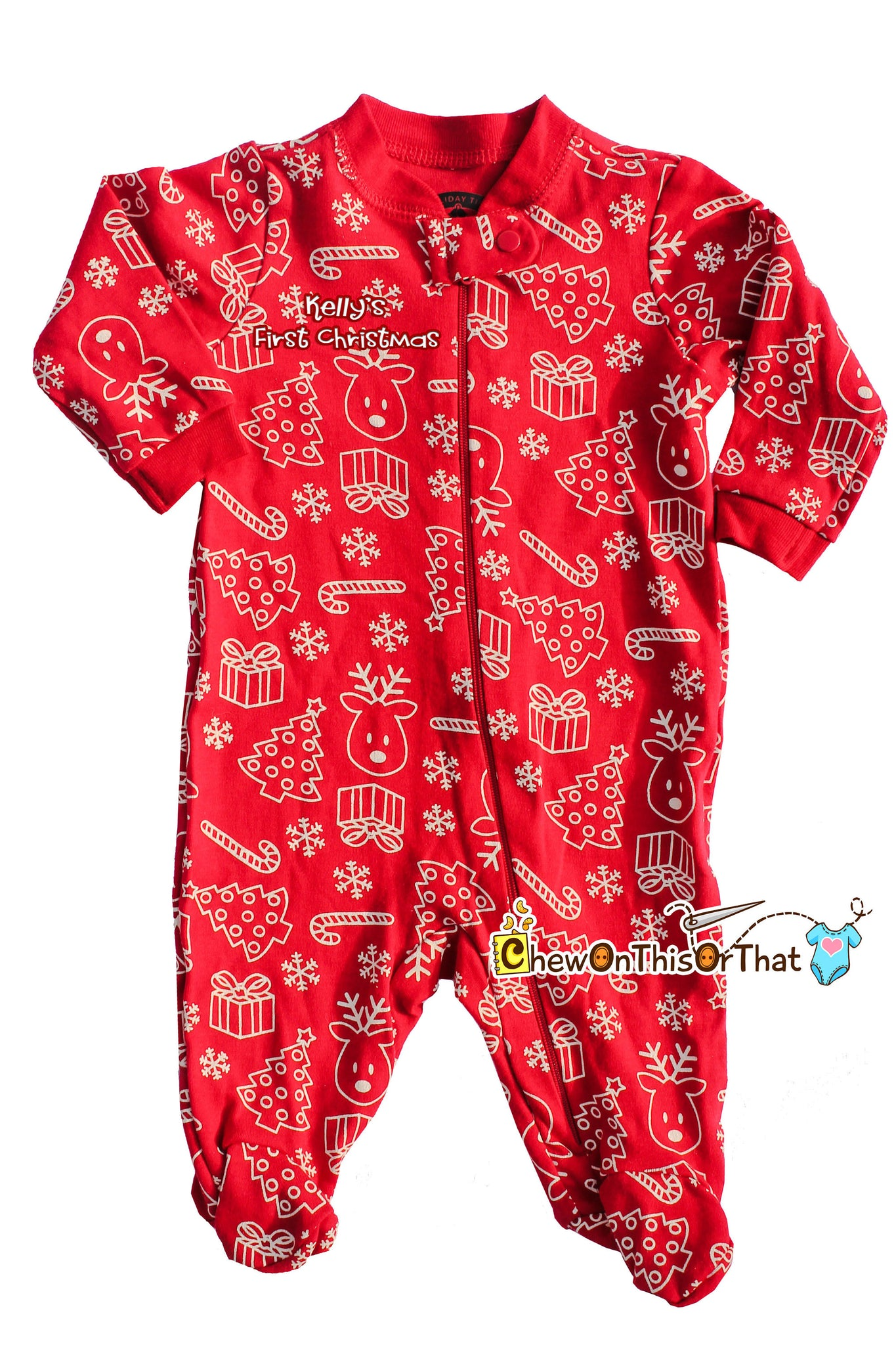 7fc241bf12 ... Red Christmas Print Sleeper Pajama Baby s First Christmas