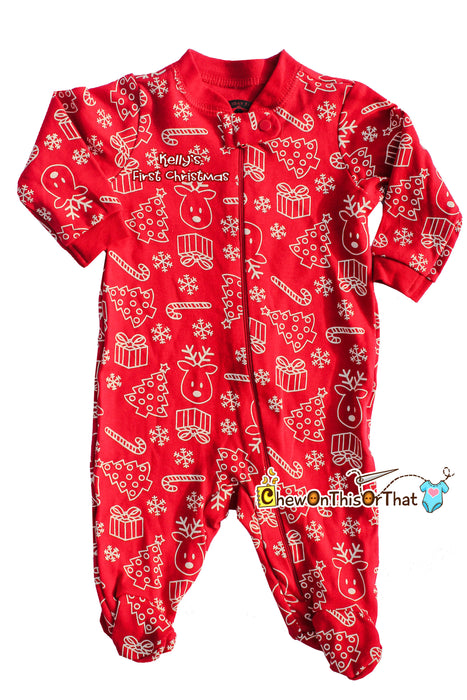 Red Christmas Print Sleeper Pajama Baby's First Christmas, Fleece Blanket Pajamas with feet, PJs Sleep and Play Set, Sleep 'N Play - Chew On This Or That