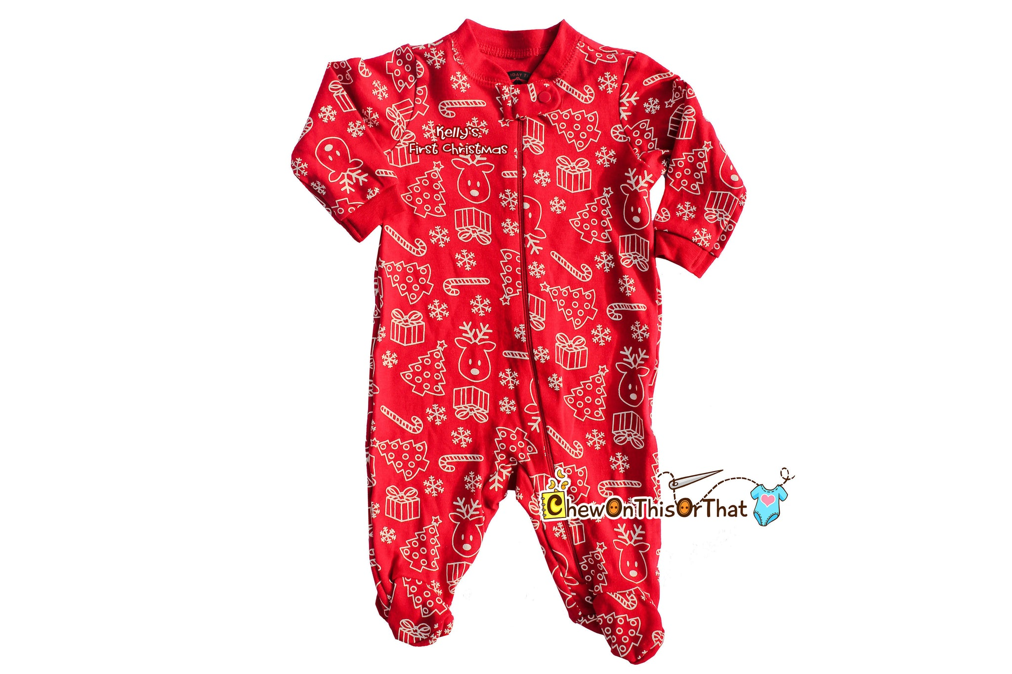 d59ecd1575 Red Christmas Print Sleeper Pajama Baby s First Christmas