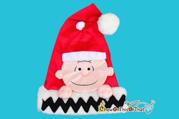 Charlie Brown Christmas Santa Hat from Peanut Movie, Peanuts Comic Strip Charles Schulz- for Children, Teen, Adult - Chew On This Or That