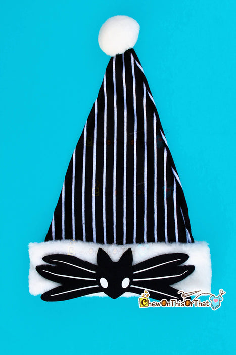 Nightmare Before Christmas Jack Skellington Christmas Santa Hat, Personalized Black and White Elf Hat, Add Name, Children, Adult, Tim Burton - Chew On This Or That