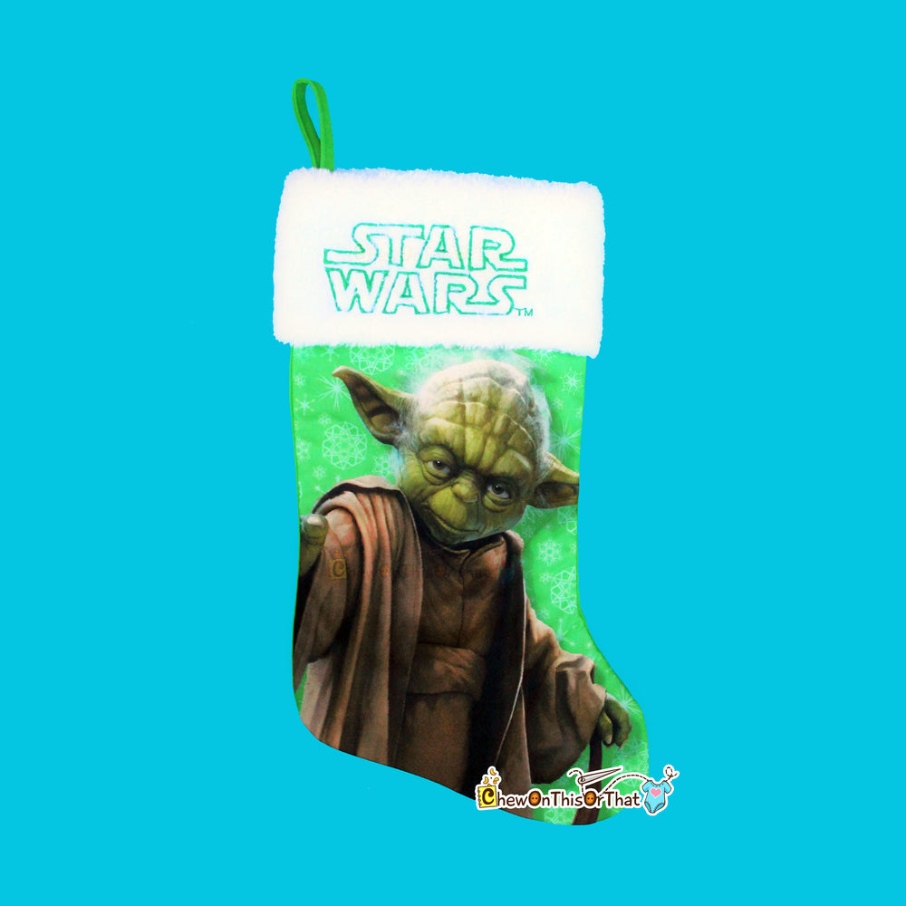Star Wars Yoda Personalized Christmas Stocking - Embroidered Lucasfilms Super Hero, Force, StarWars Movies, Return of the Jedi Add a Name - Chew On This Or That