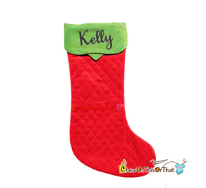 Quilted Extra Long Red and Green Old Fashioned Personalized Christmas Stocking, Elf Socks, Elf on a Shelf, Cou - Chew On This Or That