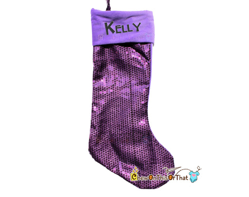 Bright Purple Sequin Personalized Christmas Stocking - Chew On This Or That