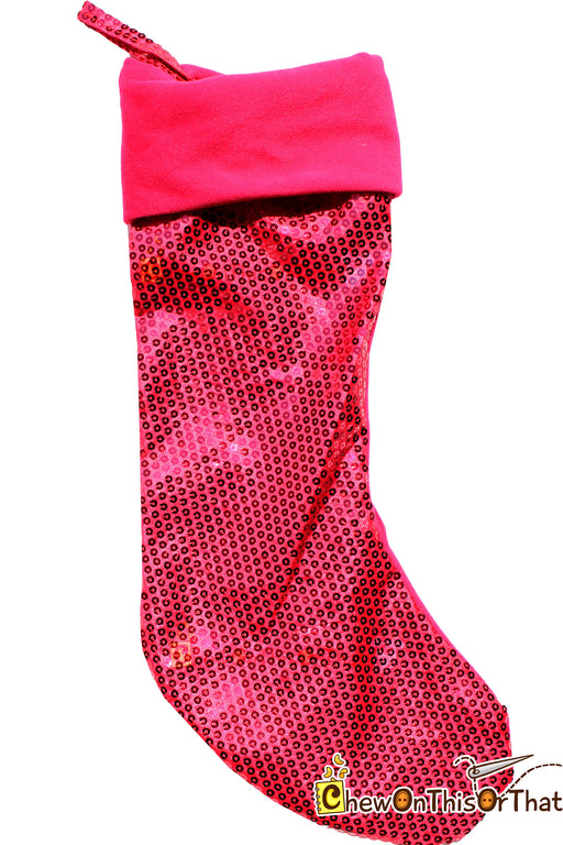 Bright Pink Sequin Personalized Christmas Stocking - Chew On This Or That