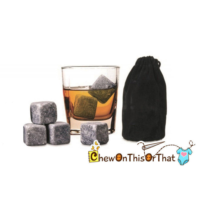 Whiskey Stones Gift Set with Black Pouch, Chilling Stones, Spirits Soapstones - Chew On This Or That