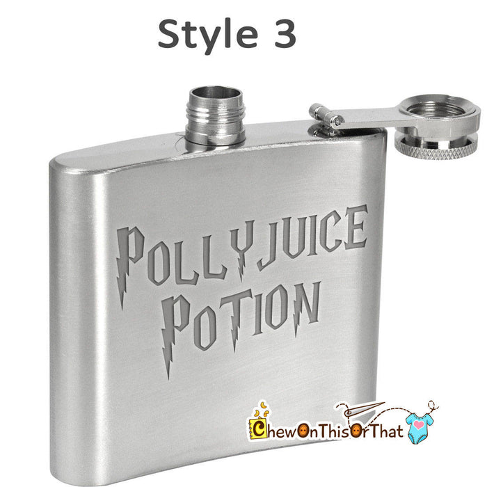 Pollyjuice Potion Personalized Stainless Steel Hip Flask - Ideal For Liquor, Whiskey, Vodka, Wine Or Alcohol, Male Female Coworker Gift - Chew On This Or That