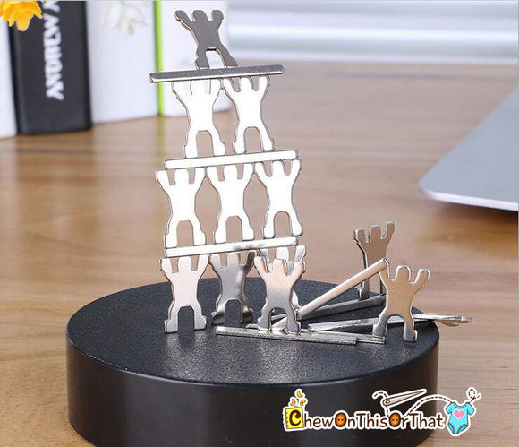 Magnetic Sculpture Desk Toy - Classic Desktop Toy, Stacking Screws, Figurine Men, Stress Relief, Decorative Desk Ornament, Home Office Decor - Chew On This Or That