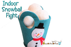 Personalized Indoor Snowball Fight with Blue Felt Snowman Pail, Soft Plush Pretend Play Toy, Family Gift, Snow Day Winter Fun Kit - Chew On This Or That