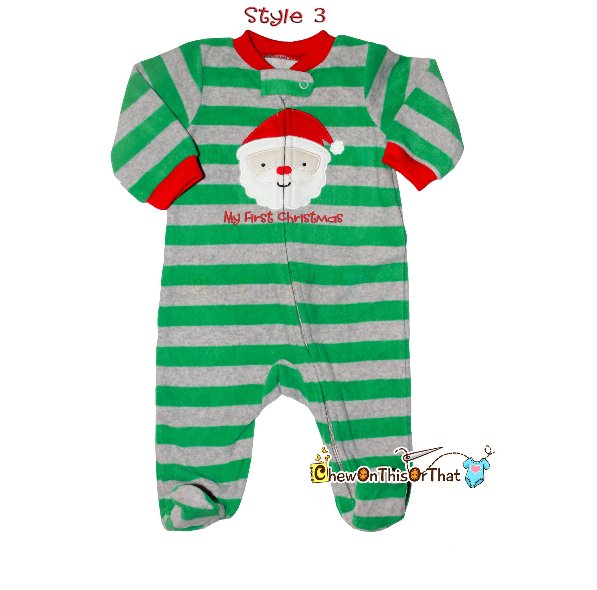 striped green and gray santa clause blanket fleece christmas pajamas for baby boys footsie pajama
