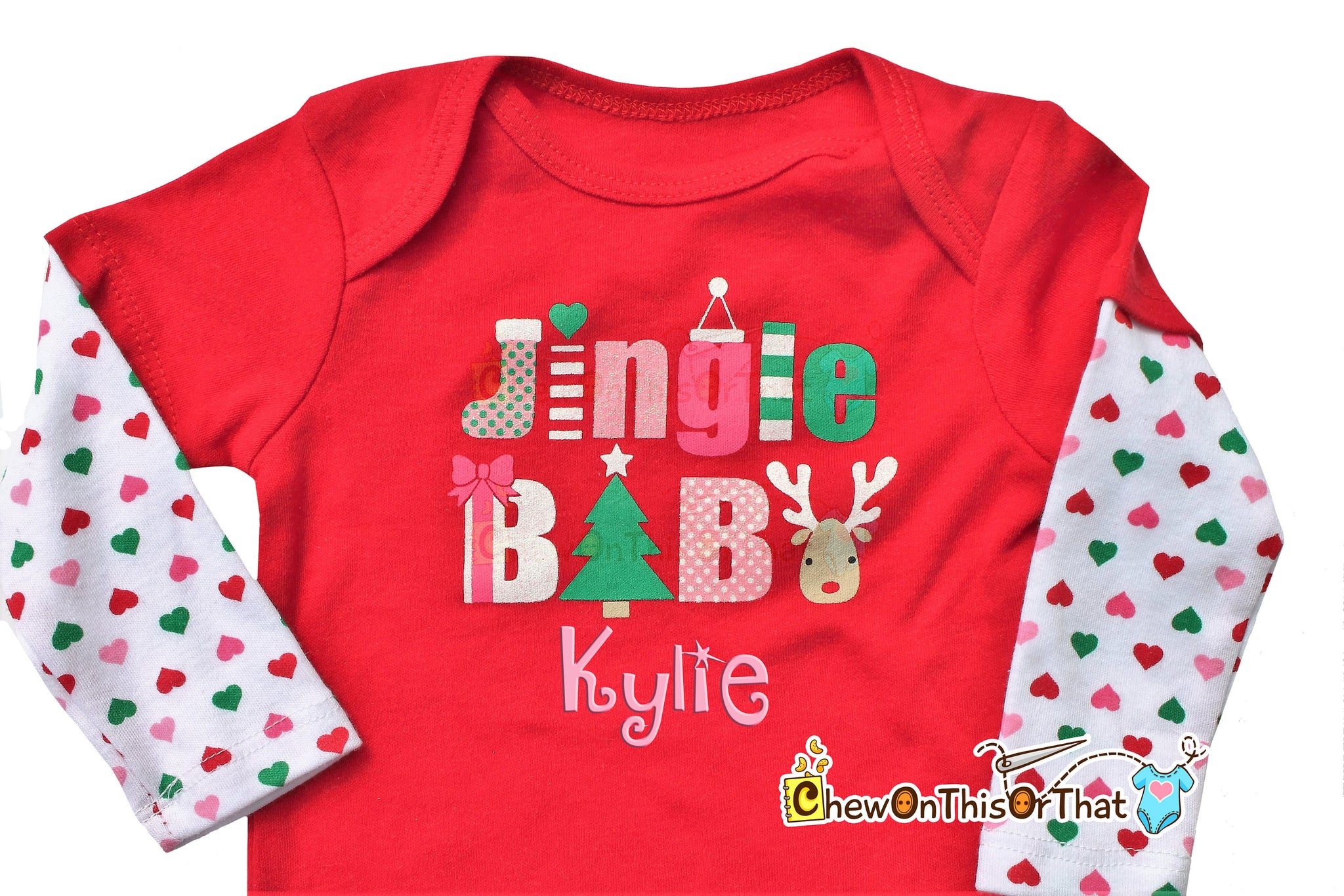 688309932ec1 Jingle Baby Red and White Christmas Onesie Personalized with Baby s ...