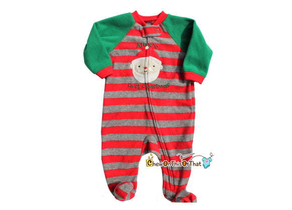 Striped Green Red & Gray Santa Pajama, Personalized Baby First Christmas Blanket Fleece Pajamas with Feet, Footie Sleeper, Matching Family - Chew On This Or That