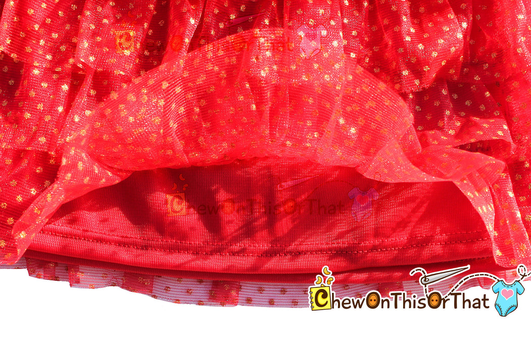 Red and Gold Ruffled Layered Christmas Tutu Skirt for Babies, Toddlers and Little Girls, Flared Ruffle with Satin Under Skirt Slip Lining - Chew On This Or That