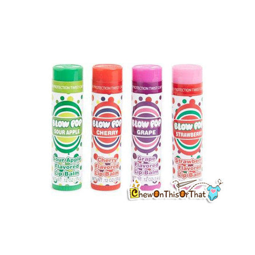 Charms Blow Pop Flavored Lip Balm in Grape, Sour Apple, Cherry and Original by Lotta Luv Cosmetics - Chew On This Or That