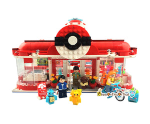 Pokemon Center Custom Lego Set with Pets & Minifigures - Bokomon Generation Pet Elf Center, Decool Series 18001 Toy Block Set, Pokemon Go - Chew On This Or That