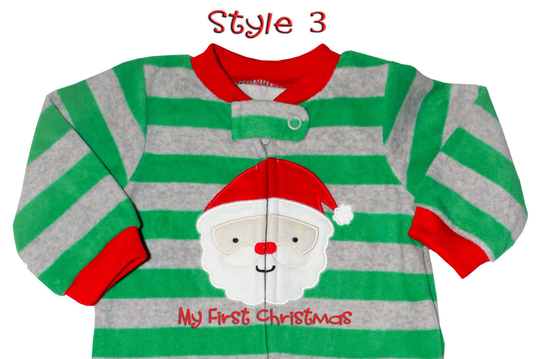 Striped Green and Gray Santa Clause Blanket Fleece Christmas Pajamas for Baby Boys- Footsie Pajama, Sleeper with feet, Sleep and Play Set
