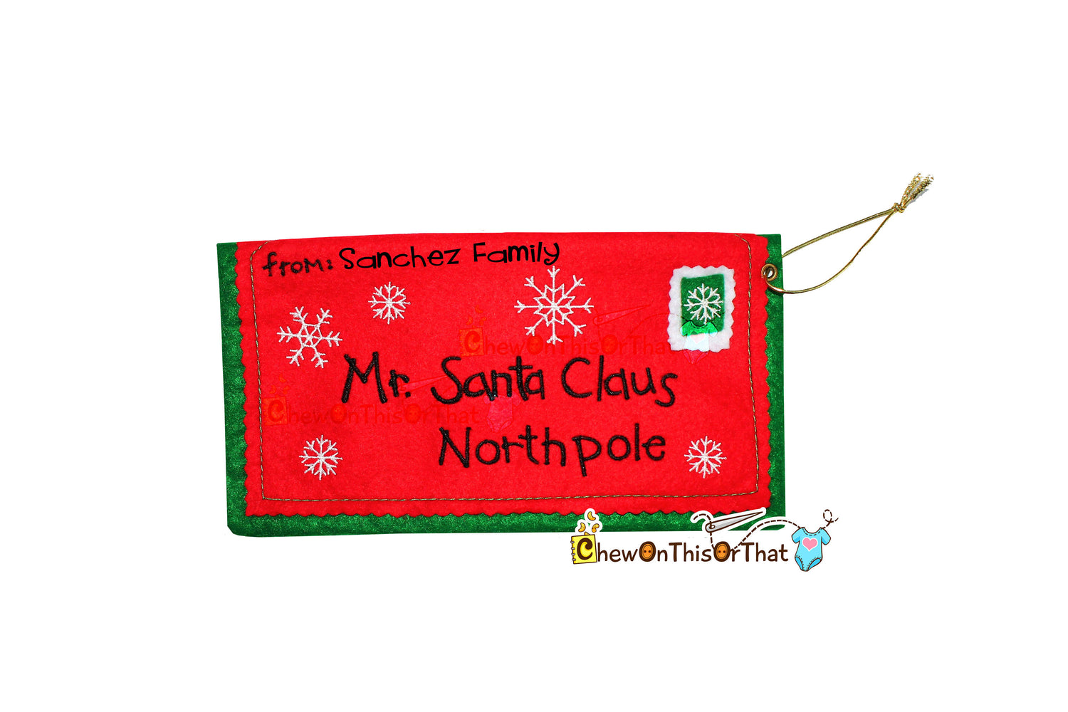 Personalized Standard Size Embroidered Red Letter To Santa Envelope, Dear Mr Santa Claus North Pole Mail, Night Before Christmas - Chew On This Or That