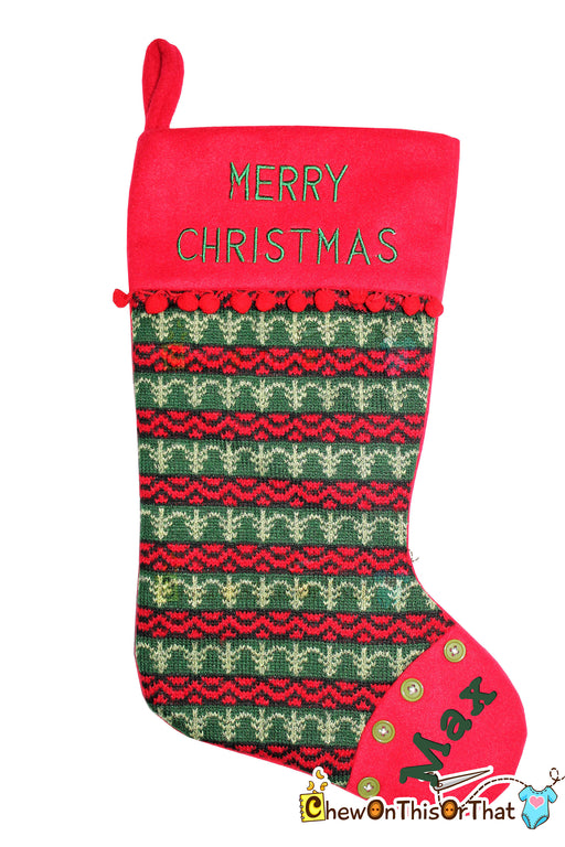 Personalized Red and Green Old Fashioned Knitted Christmas Stocking - Country Christmas - Chew On This Or That